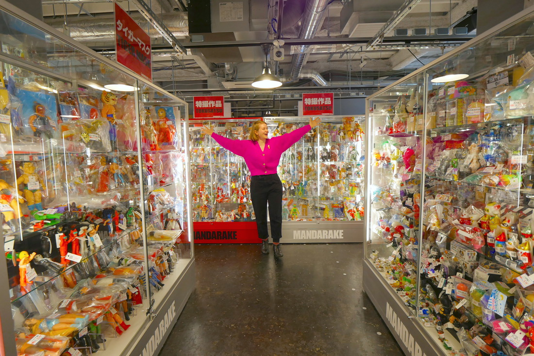 過道兩旁的展示櫃里全是玩具!