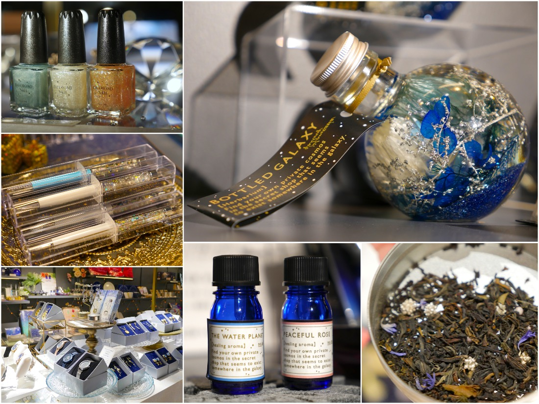 周边商品种类丰富。比如带有钻石粉的指甲油,柠檬汽水,红茶以及治愈天文馆中使用的熏香等。