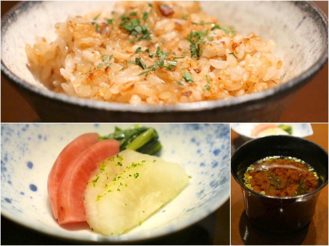 蒜香炒飯,味噌椀和香物